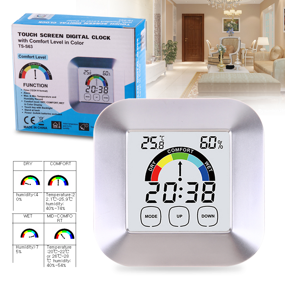 Digital Alarm Clock Thermometer Hygrometer Meter Temperature Humidity Display with Snooze Function