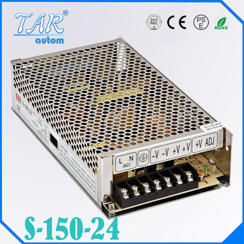 ФОТО Single Output Uninterruptible Adjustable 24V 150W Switching power supply unit 110V 240Vac to dc smps for LED Strip light cnc