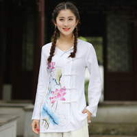 High Quality White Lady Long Slim Cotton Linen Blouse Chinese Women Vintage Button Shirt Flower Tops