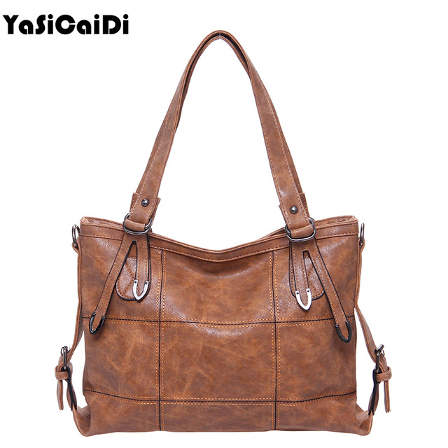 0b04918de85ae YASICAIDI Oil PU Leather Women Shoulder Bags Large Capacity Messenger Bags  Ladies Patchwork Bags Casual Tote Bags Sac A Main