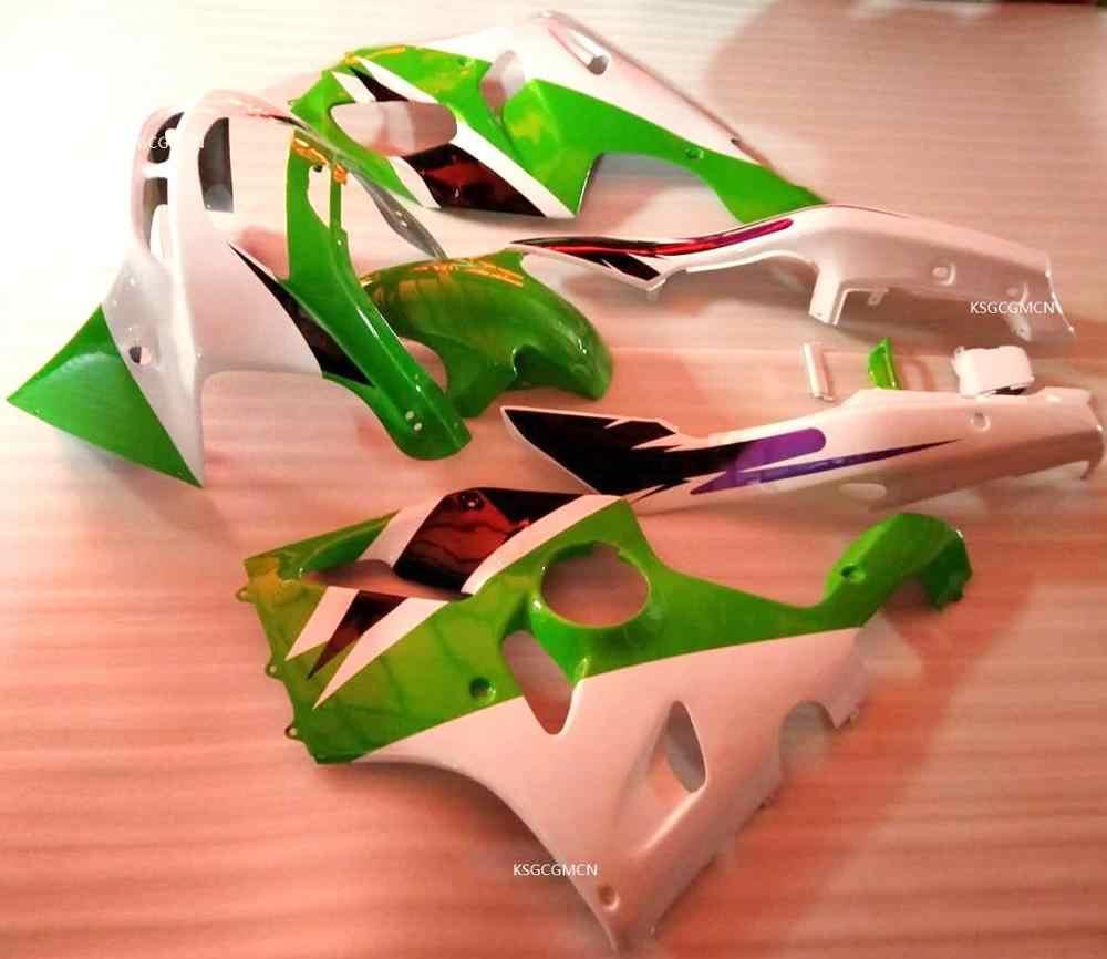 Hot Green white fit For KAWASAKI NINJA ZX6R 94-97 ZX 6R   ZX-6R 94 95 96 97 ZX-6R 1994 1995 1996 1997 Fairings set green