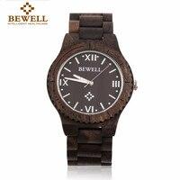 BEWELL Waterproof Wood Watch Men Hollow Carved Dial Dress Calendar Natural Sandal Wooden Fitness Quartz Wristwatches