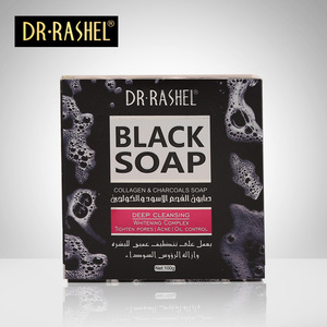 Image 2 - 2 pcs Collagen Charcoal Black Soap Face Cleanser Blackhead Remover Whitening Tighten Pore Acne Oil Control DR RASHEL 100g