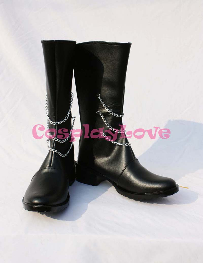 Custom Made Japanese Anime Black Leather Vocaloid Secret Policeman Hatsune Miku Cosplay Long Boots Shoes For Christmas