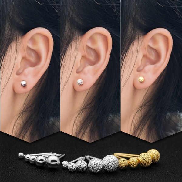 Sampanda 100% 진짜 925 스털링 실버 귀걸이 여자를위한 작은 귀여운 서리로 덥은 공 기하학 장식 못 귀걸이 소녀 보석 선물