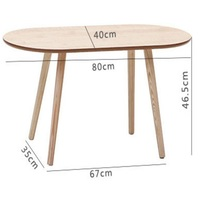 80*40*41CM Modern Wood Coffee Table Oval Sofa Side Table Living Room Corner Table