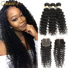 Deep Wave Bundles with Closure Peruvian Human Hair 3/4 Bundles with Closure Ossilee Remy Hair Bundles with Closure