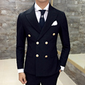 2016 Fall Winter Double Breasted Blazer Double Vent Wedding Blazer Jacket Black Navy Dress Business Jacket Blazer Masuclino