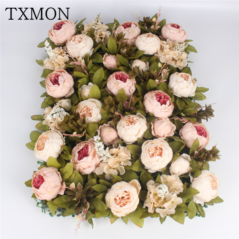 1pc Silk Peony Flower Wall European Style Artificial Flowers For Wedding Decoration Photography Background Store Decor