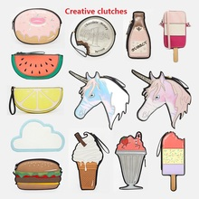 American fashion funny clutch different shaped handbag hamburger cloud bubbly icecream lemon coin chocalate small creative bags