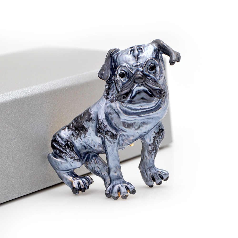 Cinkile Baru Biru Enamel Besar Bros untuk Wanita Lucu Hewan Anjing Bros Pin Karton Gaya Busana Perhiasan Berkualitas Tinggi