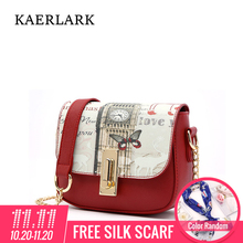 KAERLARK Brand New Fashion Women Small Shoulder Chains Bag Ladies Girl Butterfly Pattern Bag PVC Leather Crossbody Bags WD0247