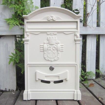 Nuevo buzón de correo estilo europeo retro de periódico Pastoral papel para postales caja grande decoración de Vintage de pared al aire libre con cerradura