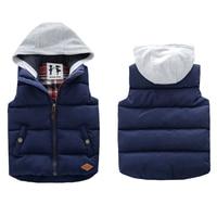 Thickened Boys Vests Baby Boys Hooded Vest Kids Outwear Boys Waistcoat Hood Jacket Coletes De Inverno
