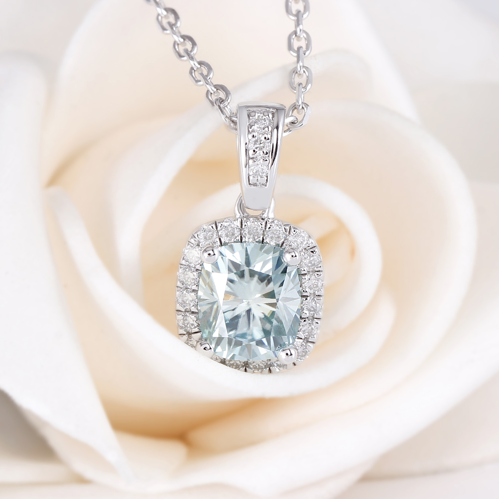 6X7mm Cushion Cut Slight Blue Moissanite Halo Pendant Necklace with Accents(3)