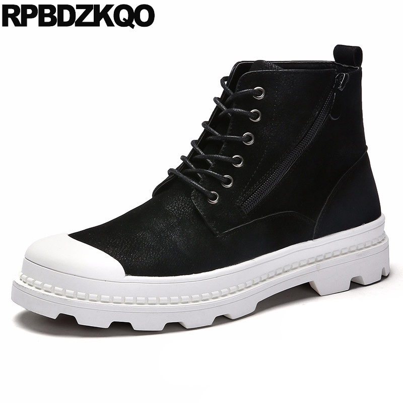 Boots Ankle Black Men's Shoes Faux Fur Non Slip Platform Casual Booties Military Autumn Sneakers Thick Soled Combat High Top platform bow faux fur ankle boots