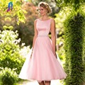 Pink Organza Robe Cocktail Dresses V Zipper Back Buttons Tea Length Formal Women Dress Evening Gowns