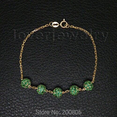 Popular Vintage Solid 18kt Yellow Gold Natural Green Emerald Bracelet NA0020