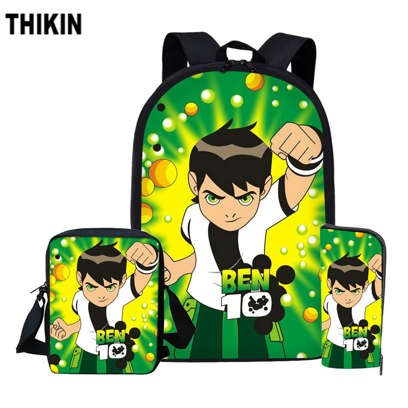 THIKIN Casual Ben 10 Game School Backpack Children Schoolbag Set For Boy Girls Big Capacity Satchel Kids Bookbag Mochila Escolar