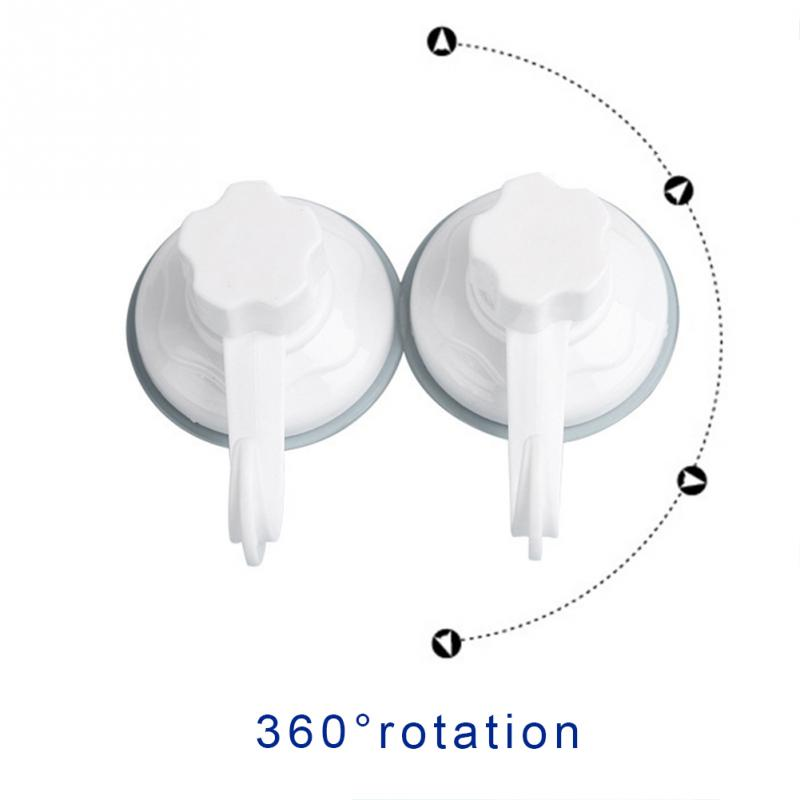 2pcs/set 360 Degrees Seamless Removable Bathroom Kitchen Wall Strong Suction Cup Hook Hanger Door Back Storage Vacuum Sucker