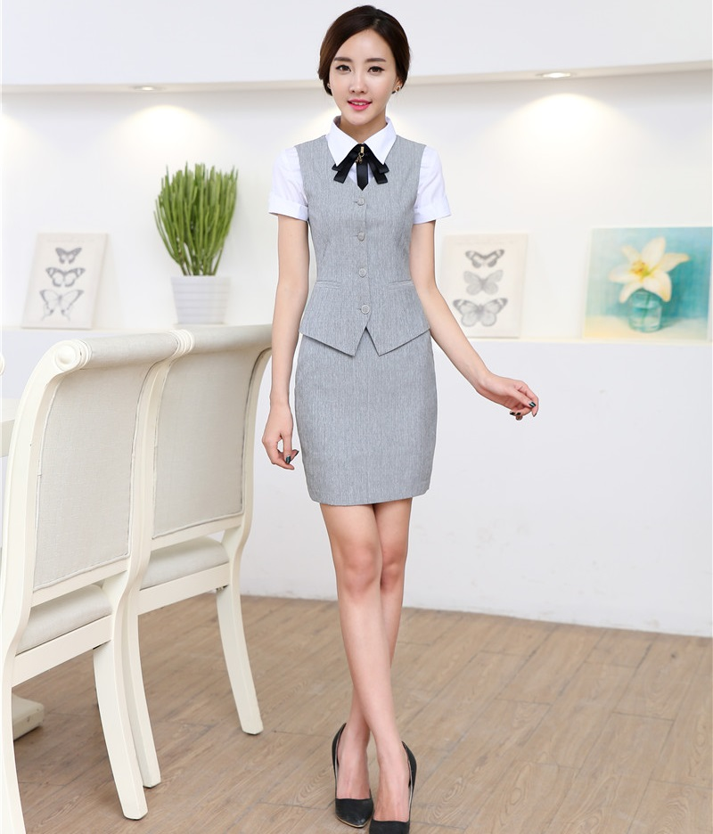 Novelty Fashion Formal Uniform Styles Professional 2015 Spring Summer  Business Suits Vest + Skirt OL Blazers 433721c06553