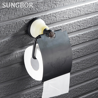 Wandmontage Antieke Zwarte Olie Afwerking Badkamer Accessoires Toiletrolhouder badkamer toiletpapier roll Tissue holder