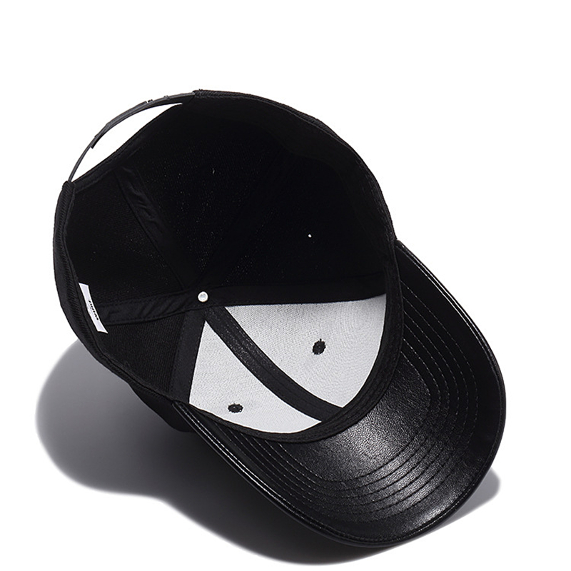 9e5f0d10 High Quality Solid Black Baseball Cap Men PU Visor Bone Masculino Cool  Snapback Hat Hip Hop Trucker Dad Cap Mens Baseball Hats-in Baseball Caps  from Apparel ...