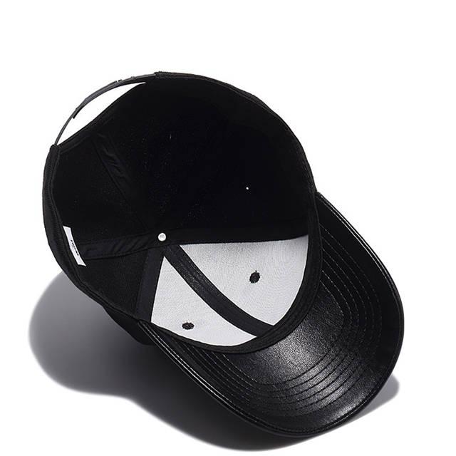 cc3f24285e8 placeholder High Quality Solid Black Baseball Cap Men PU Visor Bone  Masculino Cool Snapback Hat Hip Hop