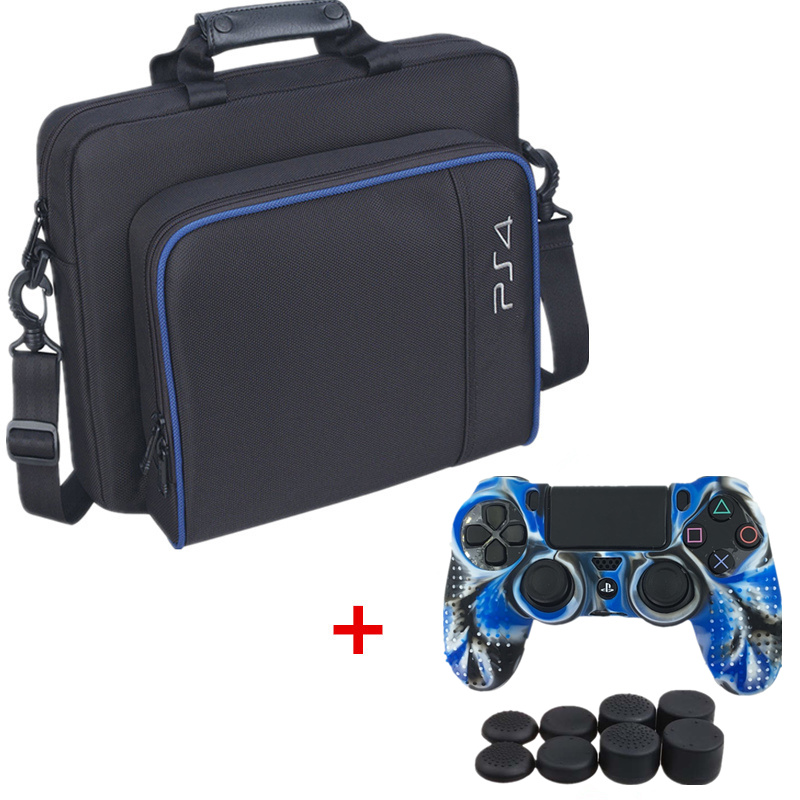PS4 Game Sytem Bag Canvas Carry Bag Protective Shoulder Bag Handbag for PlayStation4 PS4 Console Silicon Case Or Thumbstick Caps