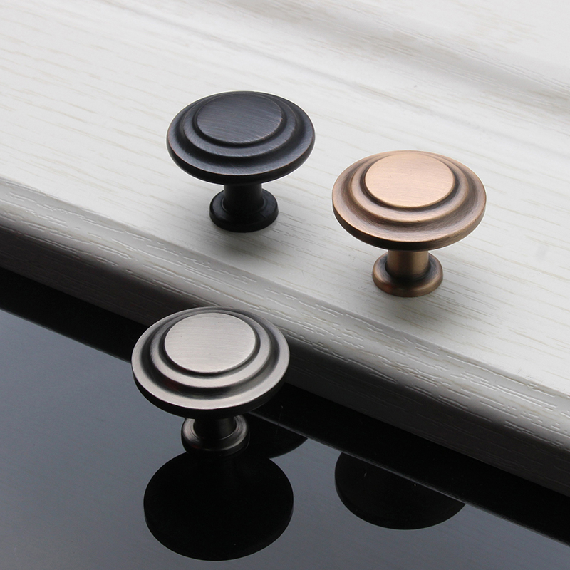Zinc Alloy Round Furniture Handles Cabinet Cupboard Wardrobe Knobs Drawer Kitchen Single Hole Pull Konbs for Home Hardware 5pcs