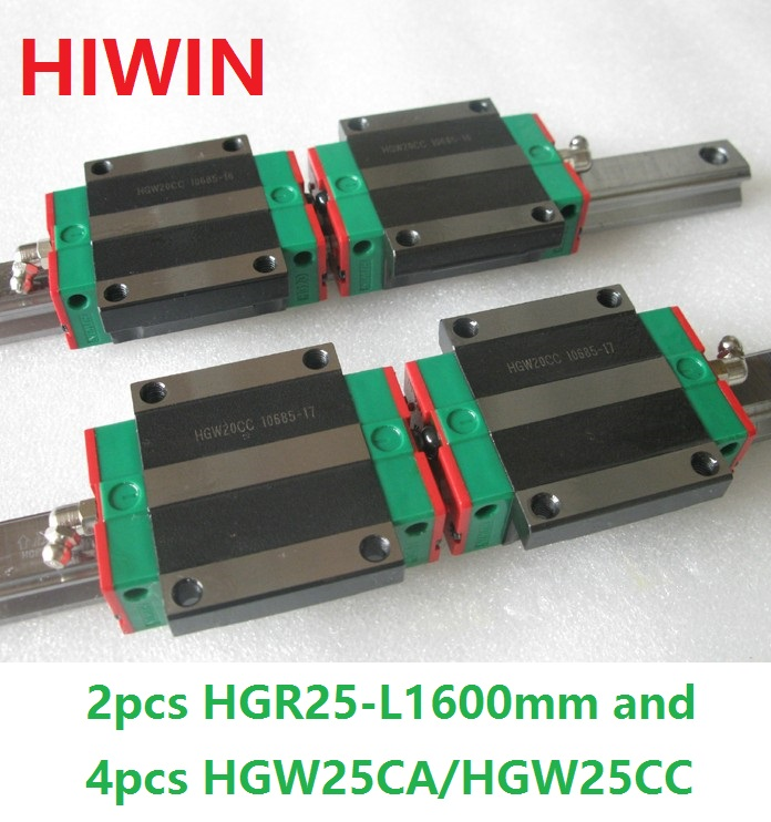 2pcs 100% original Hiwin linear rail linear guide HGR25 -L 1600mm + 4pcs HGW25CA HGW25CC flanged block for cnc original new hiwin linear guide block carriages hg25 hgw25cch hgw25cc hgr25 for cnc parts