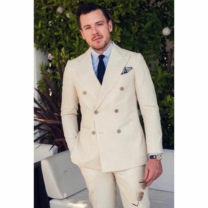 ダブルブレストライトベージュ花婿の付添人タキシードスリムフィット(ジャケット+パンツ)最高の男新郎ウェディングスーツ男性スーツ正規ウエディングブレザー