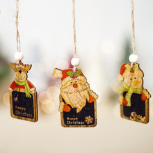 1Pc Cartoon Santa Claus Christmas Ornaments for Tree Decorations Mini Snowman Deer Wood Painted Home Decor