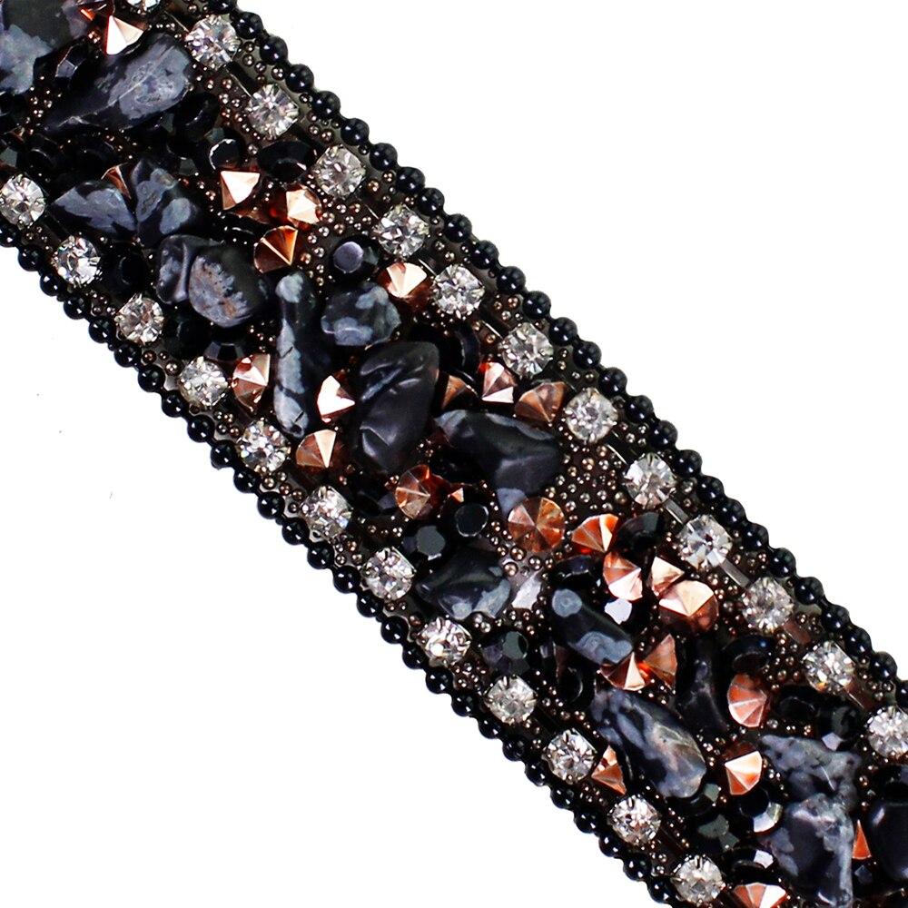 10yards Black Hotfix Rhinestones Trim Chain White Crystal Iron on Applique Trimming Sticker Craft Sewing Accessories