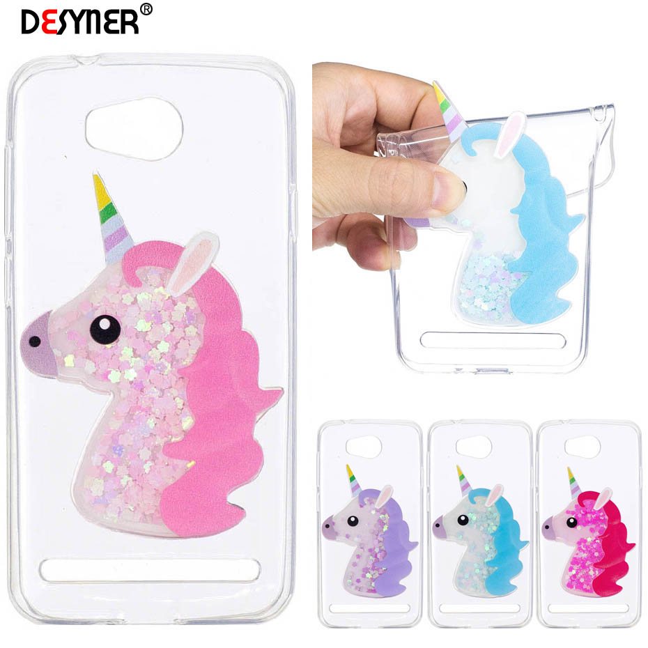 Galleria fotografica Desyner 3D Lovely Cartoon Unicorn Clouds Flashing Quicksand Case For Huawei Y3 II Soft TPU Phone Cover Case for Y3 II