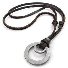 Ожерелье мужское кожаное регулируемое в стиле панк с металлическими