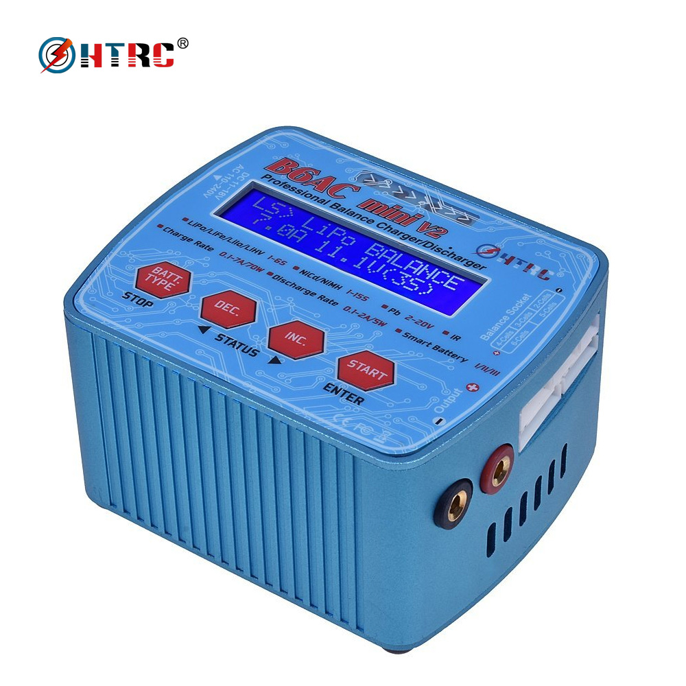 HTRC imax B6 AC Mini V2 Digital RC Balance Charger Discharger 70W 7A Dual Power  B6AC for Lipo Lihv LiIon LiFe NiCd NiMH Battery ocday 1set imax b6 lipo nimh li ion ni cd rc battery balance digital charger discharger new sale