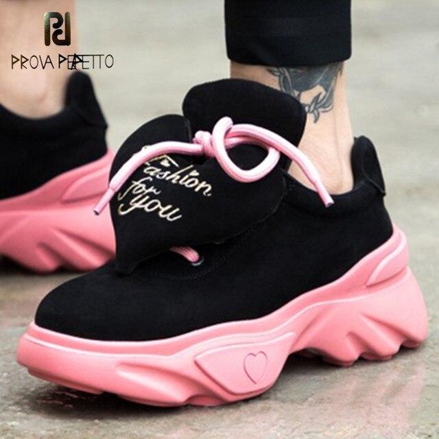 Prova Perfetto 2019 милый любящее сердце Для женщин шнурки для повседневной обуви дышащие спортивные кроссовки женские туфли на платформе Обувь для прогулок розовый