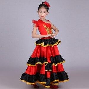 Image 2 - Crianças meninas vestido de dança do ventre vermelho espanhol flamenco traje de salão de baile vestido tribal com cabeça flor