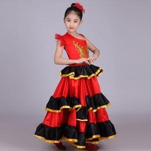 Image 2 - Vestido de danza del vientre rojo para niñas, traje de Flamenco español, vestido Tribal de salón con flor de cabeza