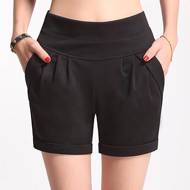 e376720644 2017 verano estiramiento Shorts mujeres Casual alta cintura Shorts para  mujer grasa más tamaño mujer playa