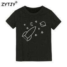 Детская футболка с принтом ракеты, звезд, космоса, планеты детская футболка для мальчиков и девочек, одежда для малышей Забавные футболки, Прямая поставка Y-87