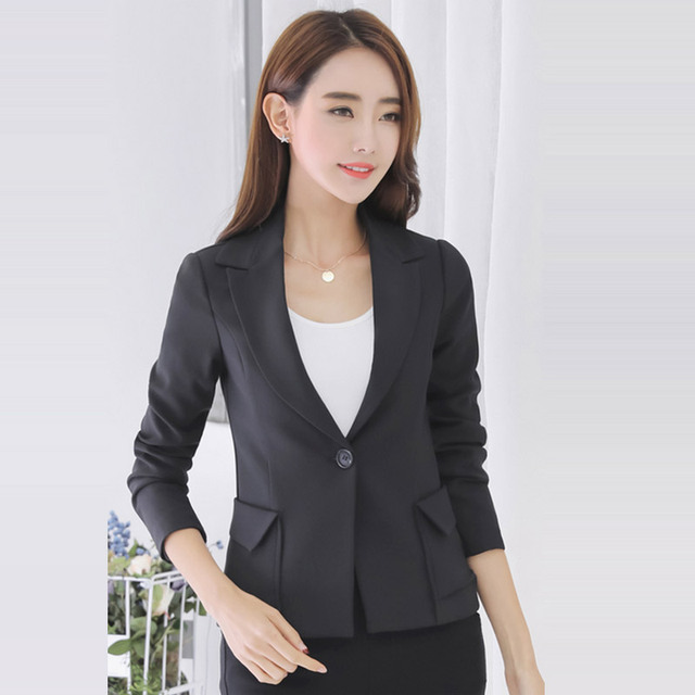 2017 New Spring Coat Women Slim Pockets Blazer Solid Casual Jacket One Button Suit Long Sleeve Blazers Work Wear Outwear SY1226