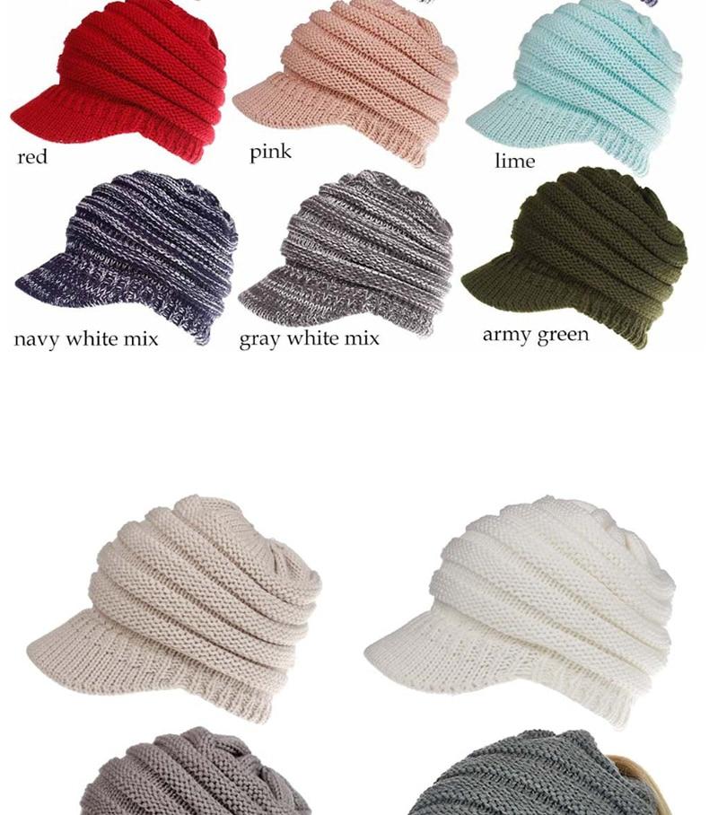 31c6e1b7e00bc Hat Women Knitted Hat Ladies Ponytail Beanie Caps For Women Twist Headwrap  13