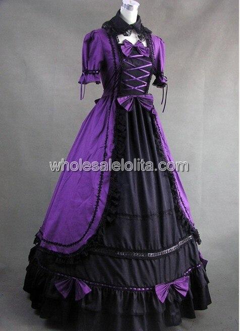 Фиолетовый и черный готический, викторианской эпохи платье с кружевной отделкой