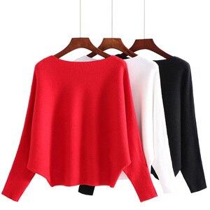 Image 2 - 여성 오프 어깨 섹시한 탄성 뜨개질 풀오버 여성 박쥐 긴 소매 니트 스웨터 여성 패션 점퍼 당겨 니트 셔츠