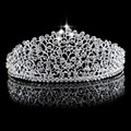 Gorgeous Sparkling Silver Big Wedding Diamante Pageant Tiaras Hairbands Crystal Bridal Crowns For Brides Hair Jewelry Headpiece