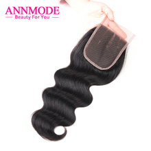 "Annmode Malaysian Body Wave Lace Closure Three Part ""4X4"" Swiss Lace A Bundle Free Shippping Non-remy Human Hair Closure"