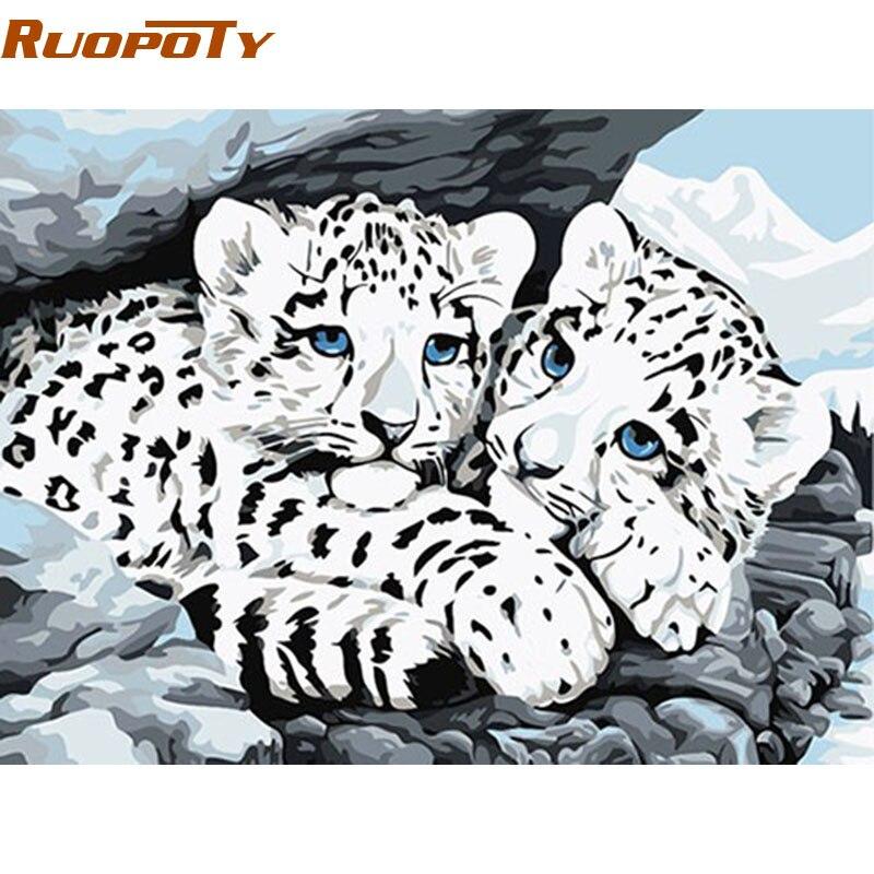 ̀ •́ RUOPOTY blanco leopardo animales DIY pintura por números Kits ...