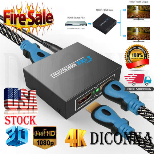 HD Full HDMI 1X2 Splitter Repeater Amplifier 3D 1080P 4K Switch Box 1 In 2 Out